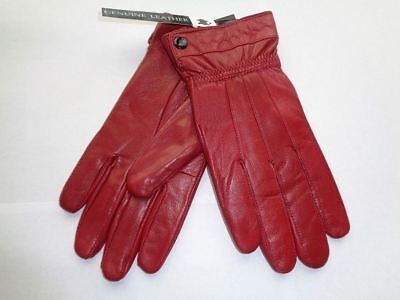 New Red Ladies 1 Button Leather Gloves Small/Medium Driving Winter Tight Fit Hot