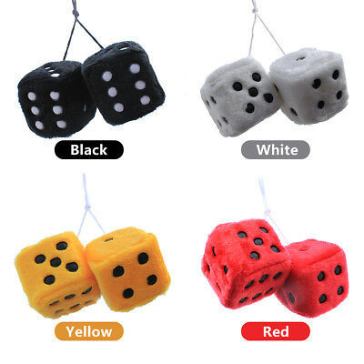 Cute Mini Fluffy Dice Car Mirror Accessory With Hanging Sucker Plush Xmas Gift