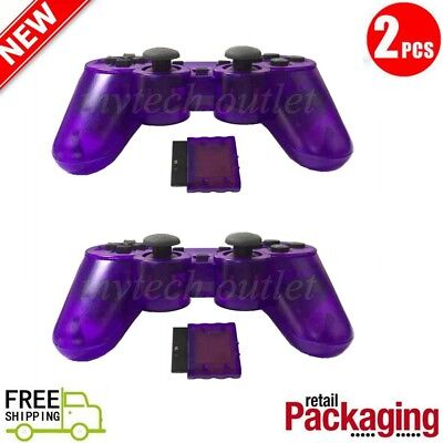 2X New Wireless 2.4GHz Twin Shock Game Controller For PS2 Clear Purple Joypad