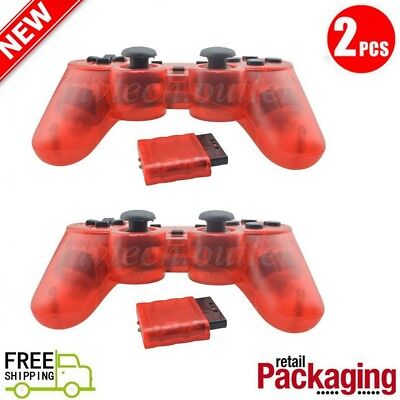2X New Wireless 2.4GHz Twin Shock Game Controller For PS2 Clear Red Joypad