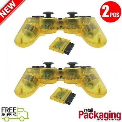 2X New Wireless 2.4GHz Twin Shock Game Controller For PS2 Clear Yellow Joypad