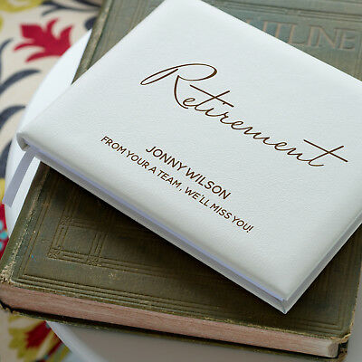 Personalised Retirement Guest Book, Ivory Leather Guest Book OHSO829-L1B2/3
