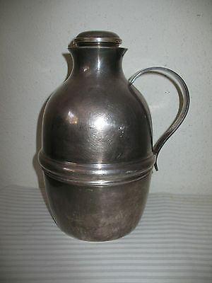 Vintage Silver Pitcher S&S Insulated Hotel Type Silver-Plate w Sterling Stopper
