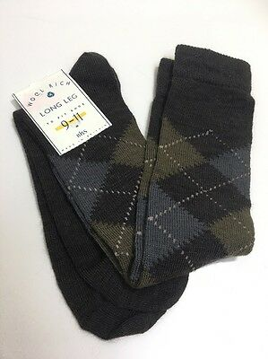 CA25 True Vintage Mens Nylon Wool Socks 1970s? BHS Socks Size 9-11 Long Pattern