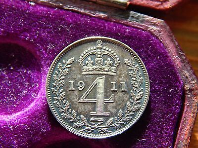 George V 1911 Very High Grade Maundy Sterling Silver Coin Set 1d 2d 3d 4d Cased