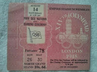 London Olympics 1948 Closing Ceremony Ticket