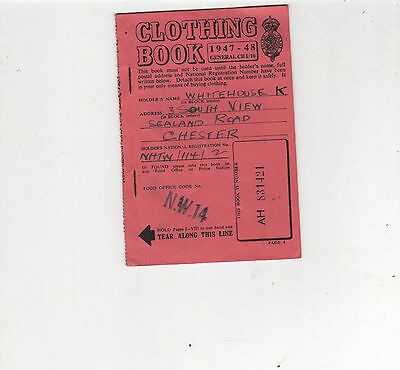 Clothing Book 1947-48. K.whitehouse 3 South View, Chester.unused Coupons