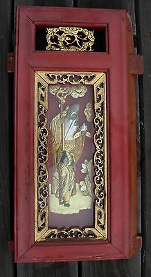 China Chinese Carved Temple Gilt Gold Wood Panel Gilded Carving Asia  Japan