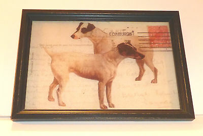 """Jack Russell Reverse Printed 12"""" x 8 1/2"""" Wooden Framed Glass Print,U.S.A."""