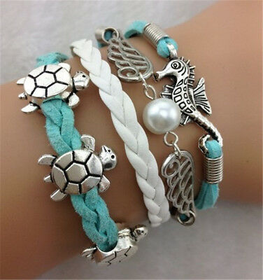 Women's Fashion Turtles Hippocampus Wings Shaped Wedding Charm Leather Bracelet