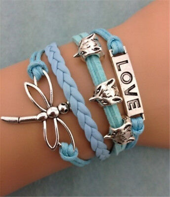 Women's Fashion Infinity Dragonfly Love Shaped Wedding Charm Leather Bracelet