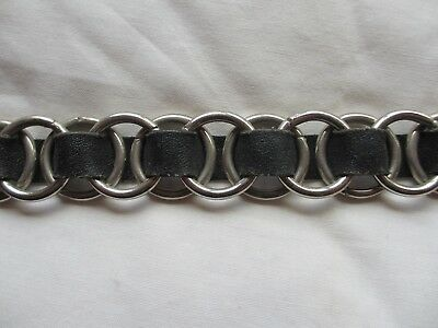 Black Leather Ring Belt Vintage Early 80s