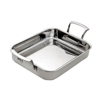 Browne Foodservice Thermalloy 4.6qt Tri-Ply Stainless Rectangular Roasting Pan