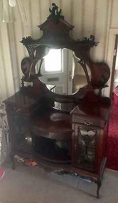Victorian Antique Dresser Furniture Mahogany Wood Mirror Shelf Draws Make Up