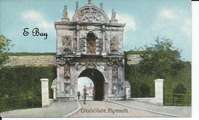 A vintage postcard showing the Citadel Gate Plymouth