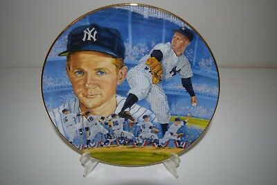 """WHITEY FORD Signed Collector's Plate 8"""" World Series Wind-Up New York Yankees"""