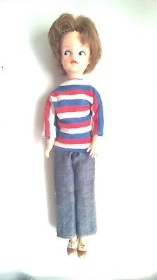 Vintage Sindy Doll auburn hair bubble cut, Weekender Outfit, Made in Hong Kong