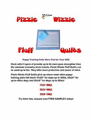 """23x36"""" Pizzie Wizzie Extra Absorb Quilted Puppy Dog Piddle Pads 5x 8hour Samples"""