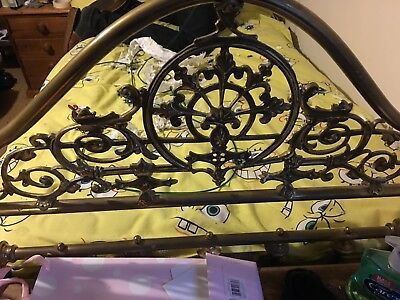 Two Brass Four Poster Single Beds