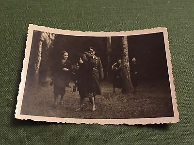 Vintage Photograph Social History German Soldier In Uniform With Young Ladies