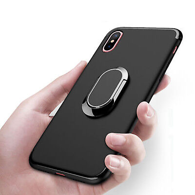 For iPhone X 8 Plus 7 6s 360° Rotating Finger Ring Holder Soft TPU Stand Case