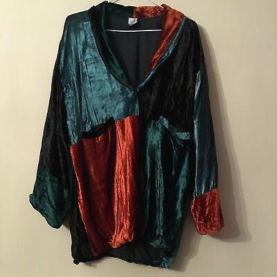 Rare Vintage Velvet Mixed Colour Fully Lined Jacket By Saffron Moon