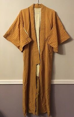 RARE Vintage Authentic 70's Kimono Mustard And Red Gingham Check, Fully Lined