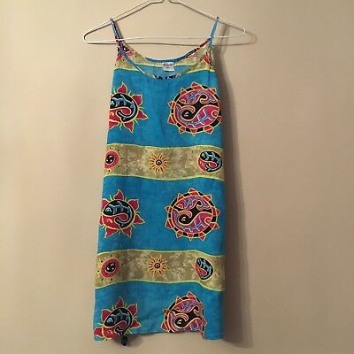 RARE Vintage 90's Funky Strappy Dress In Bright Tropical Print Size M/L