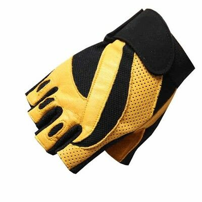 (Yellow, Medium) - Fitness Gloves Male Outdoor Breathable Movement Half Finger