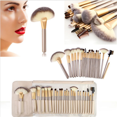 Professional 24pcs Cosmetic Makeup Powder Blush Brush Set With Leather Bag