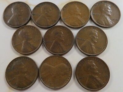 10 pc lot of 1909 vdb Lincoln Wheat Cents fine/very fine and free shipping