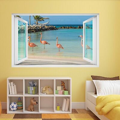 Flamingo Water Bird with Pink Red Feather Animal 3D Wall Sticker Mural Decal DA1