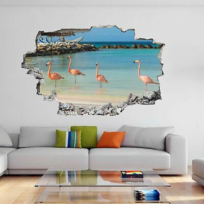 Flamingo Water Bird with Pink Red Feather Animal 3D Wall Sticker Mural Decal DA2