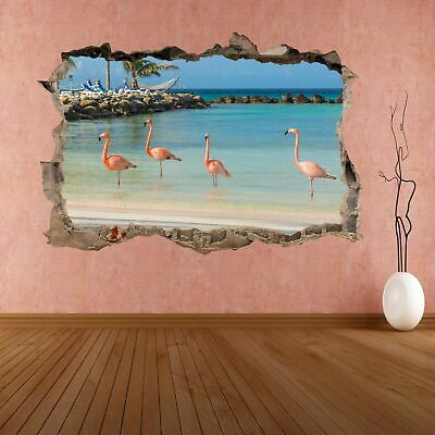 Flamingo Water Bird with Pink Red Feather Animal 3D Wall Sticker Mural Decal DA3