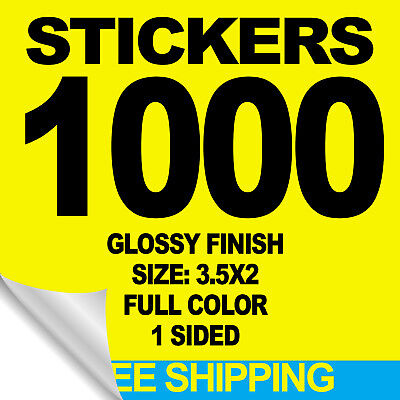 1000 Stickers 3.5X2 Full Color W/ Your Artwork Ready To Print - Free Shipping