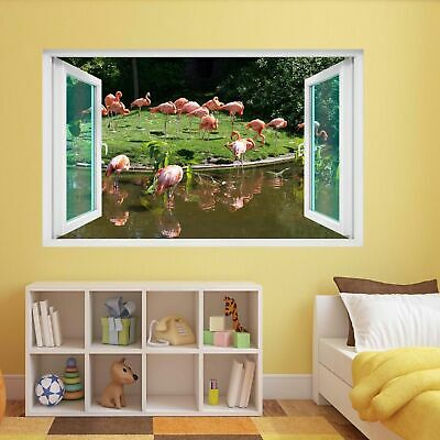 Flamingo Bird Water Pond Pink Red Feather Animal 3D Wall Sticker Mural Decal DA4