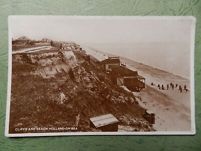 Old Real Photo Postcard - Holland On Sea , Essex - Cliffs And Beach