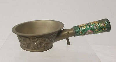 Antique Vintage Chinese Brass Bronze Brazier Enamel Copper Scholars Objects