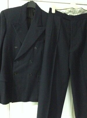 Vintage 40/50s Navy Wool Double Breasted Suit by The Ideal