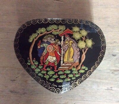 vintage Russian Palekh Lacquer Box Triangular Heart Shaped