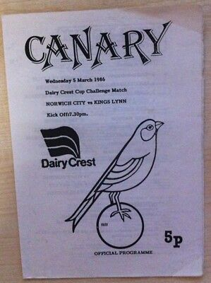 Norwich City v King's Lynn - Dairy Crest Challenge Match - 5th March 1986