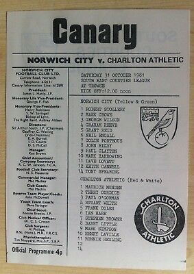 Norwich City Youth v Charlton Youth - S-E Counties League - 31st October 1981