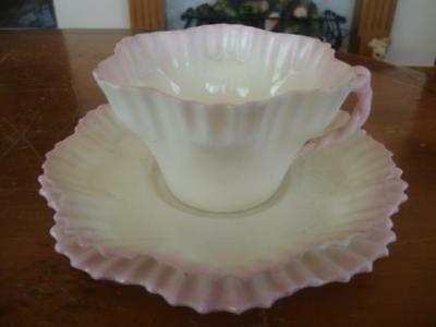 FINE ANTIQUE BELLEEK PORCELAIN PINK TRIO. ~ 2nd BLACK MARK. C1890.