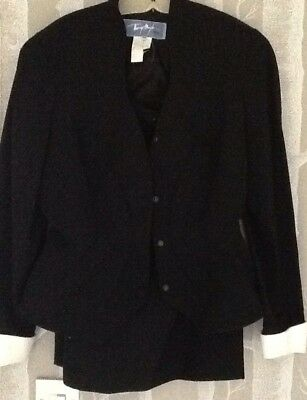 Classic Waisted 1990S Tailored Thierry Mugli Black Ladies Suit With While Cuffs