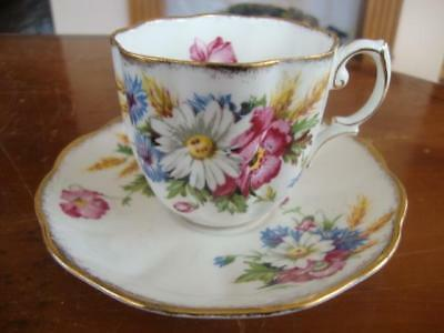 Fine Antique Royal Albert Bone China Harvest Bouquet Cup And Saucer.