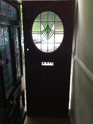 "1930s front door with original lead light glass ,size 31 3/4"" x 80.1/4"""