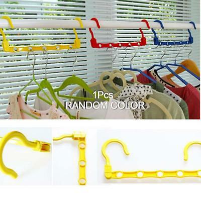1x 5Hole Dual Plastic Hooks Clothes Hanger Closet Wardrobe Organizer Space Saver