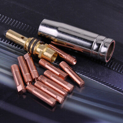 12pc MB 15AK MIG/MAG Welding Torch Contact Tip 0.8x25mm M6 Gas Nozzle Shroud Kit