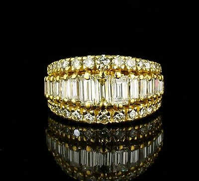 ESTATE COLORLESS FLAWLESS NATURAL 2.50ctw DIAMOND SOLID 18K GOLD WIDE BAND RING