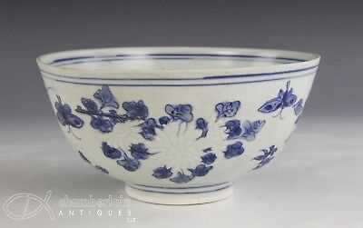Antique Chinese Blue White Porcelain Bowl With Relief Flowers